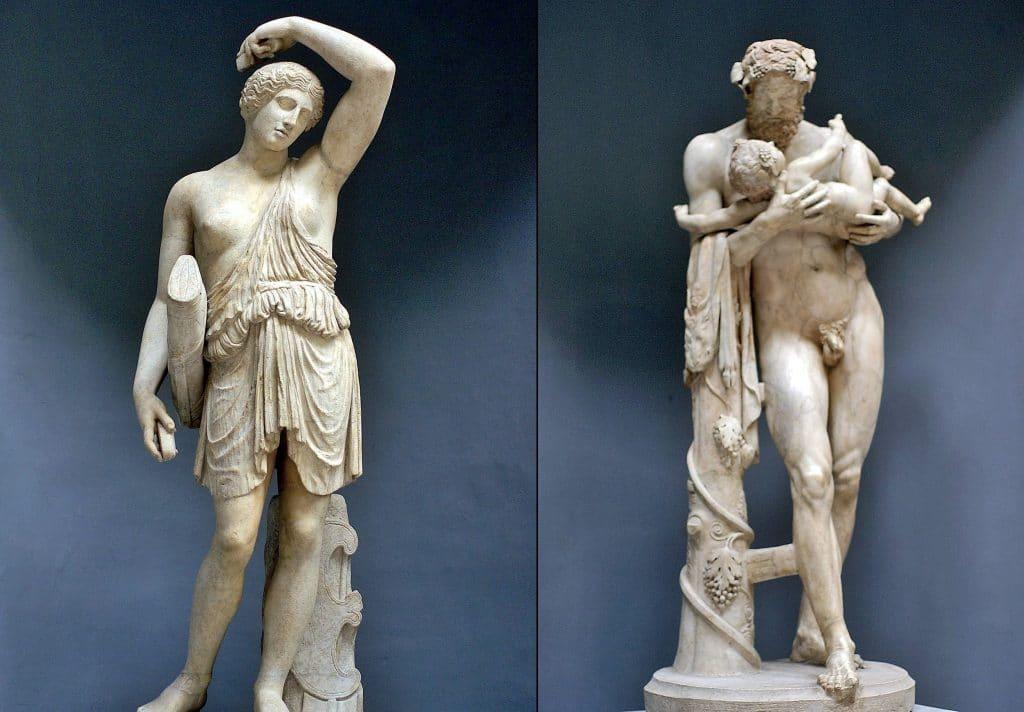 Amazon heykeli ve Silenus heykeli