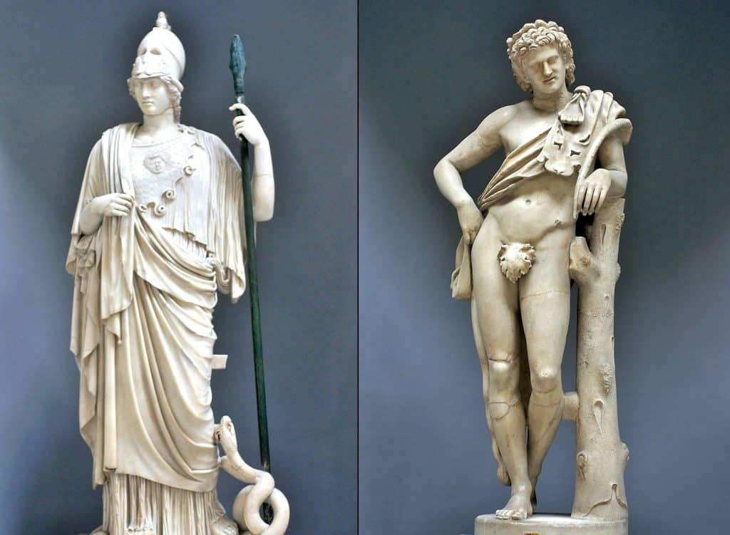 Athena heykeli ve Satry Heykeli - Braccio Nuovo