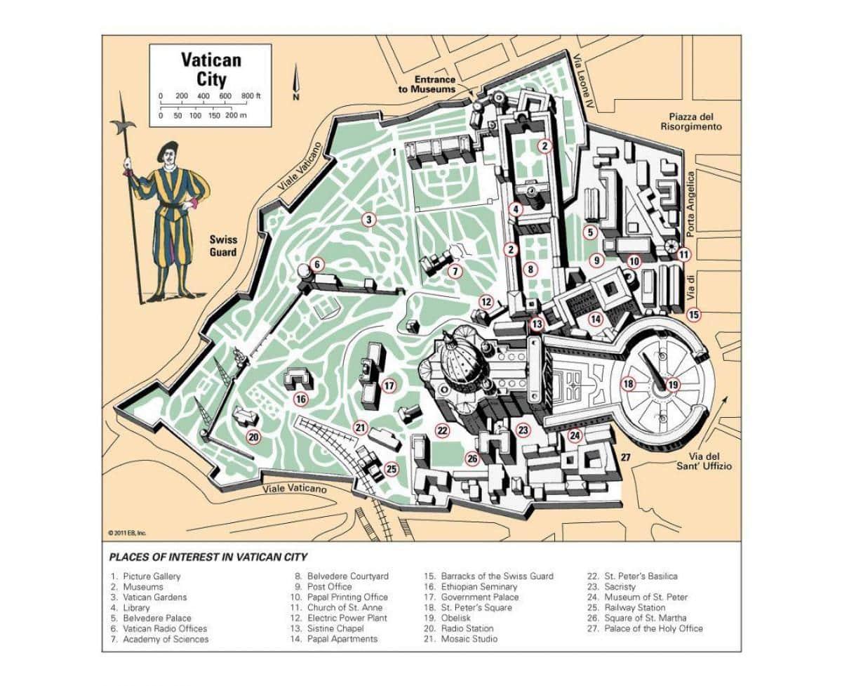 Vatikan Şehri - Genel Harita